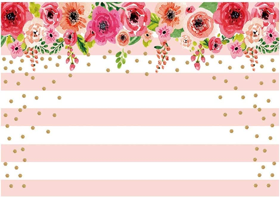 Amazon Com Funnytree 7x5ft Pink And White Stripes Flowers Party Backdrop Floral Rose Birthday Photo Background Gold Sprinkle Bridal Shower Sweet Table Banner Wedding Decorations For Photography Camera Photo