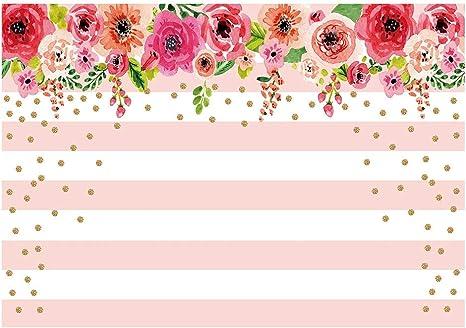 New Pink Rose Happy Birthday Backdrop 7x5ft Vinyl Mint White Stripes Gold Dots Birthday Photo Background Women 20th 30th 40th Sweet 16th Birthday Photography Backdrops