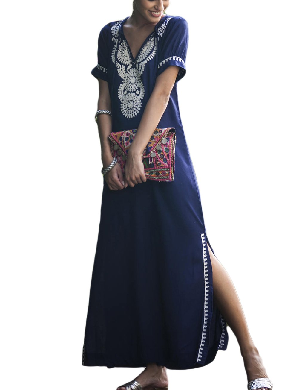 Bsubseach V Neck Short Sleeve Embroidery Beach Dress Swimsuit Cover up Women Swimwear Long Turkish Kaftan Caftan Navy Blue