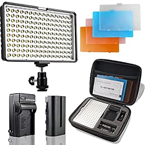 LED Camera/Camcorder Video Light Panel, SAMTIAN 160 LED Video Photo Light Kit, Ultra Bright Panel Light for All DSLR Cameras, with Four Color Filters, Battery, Charger, Carry Case