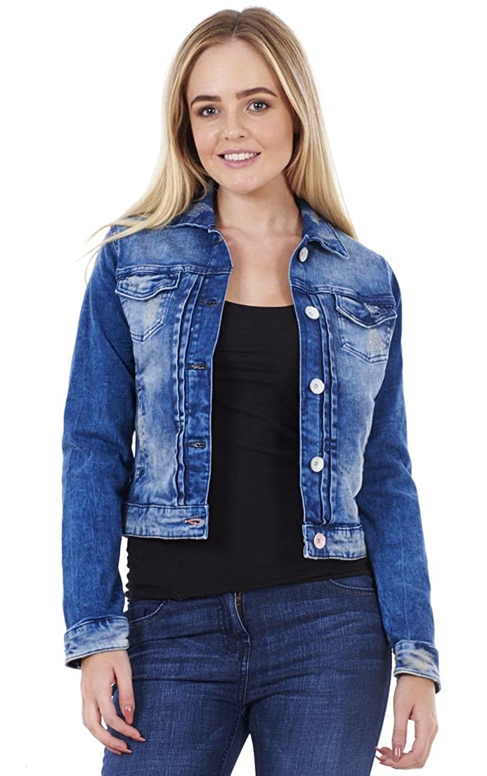 42d4431d9 Falmer Heritage Ladies Denim Jacket Fashion Blue Distressed Stretch Cotton