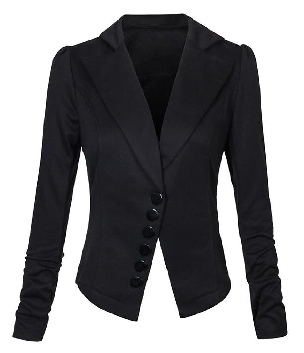 XiaoShop Women's Lapel Long Sleeve Slim Fitting Solid Buckle Suit Blouses free shipping
