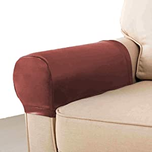 LERTREE 1 Pair PU Leather Sofa Armrest Covers Armchair Arm Covers Stretchy Furniture Protectors for Couch Chair Arm (Reddish Brown)