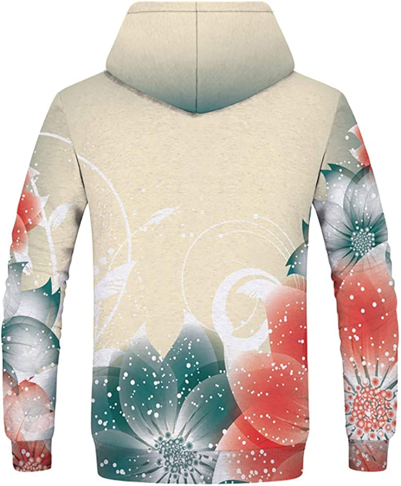 QQMIMIG Unisex US Women 3D Printed Pullover Long Sleeve Fleece Hooded Sweatshirts with Pockets