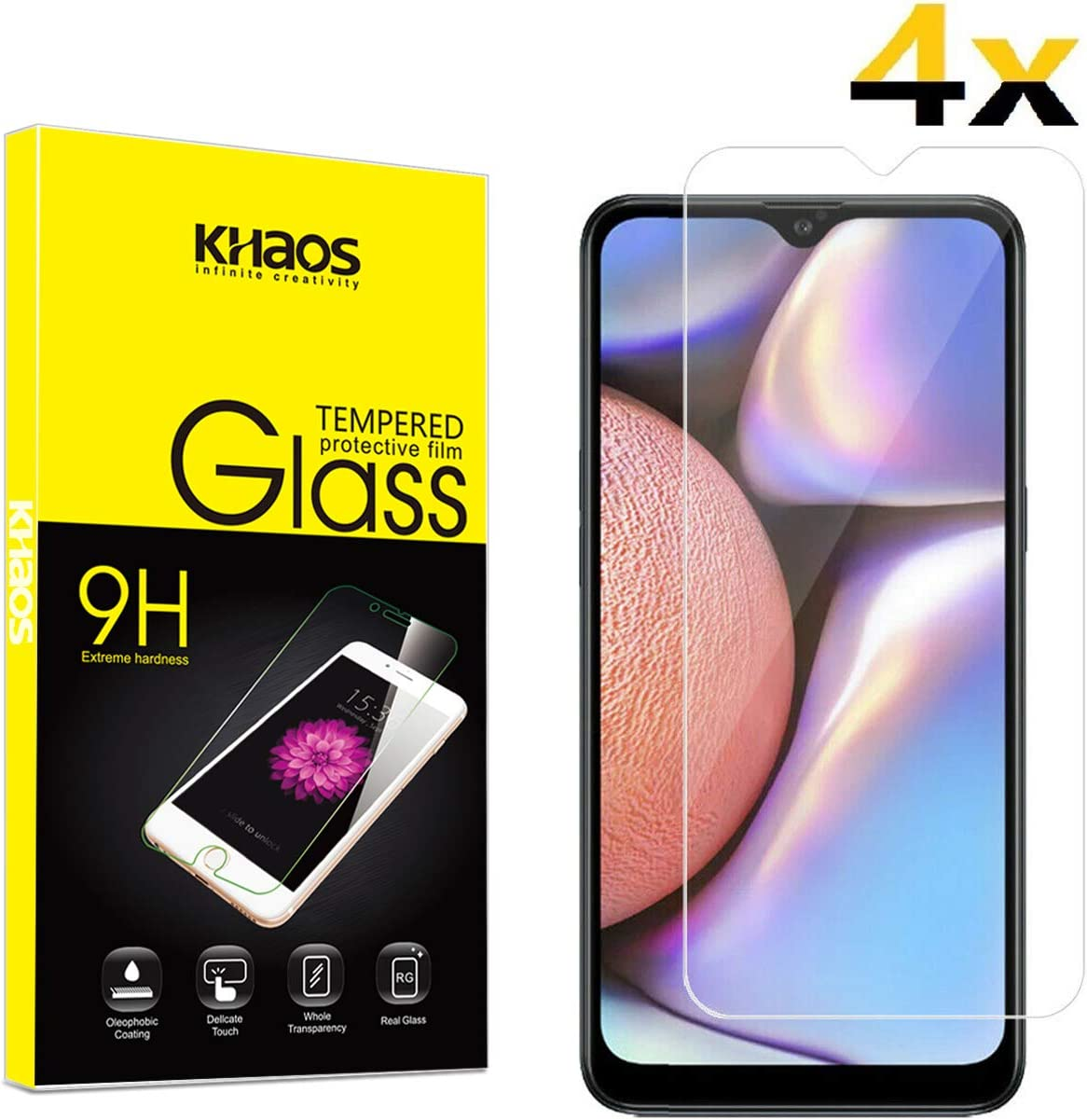 99.99/% Clarity 4 Pack Shock Absorbent Screen Protector for Samsung Galaxy A10S CUSKING Screen Protector for Galaxy A10S 9H Hardness Tempered Glass
