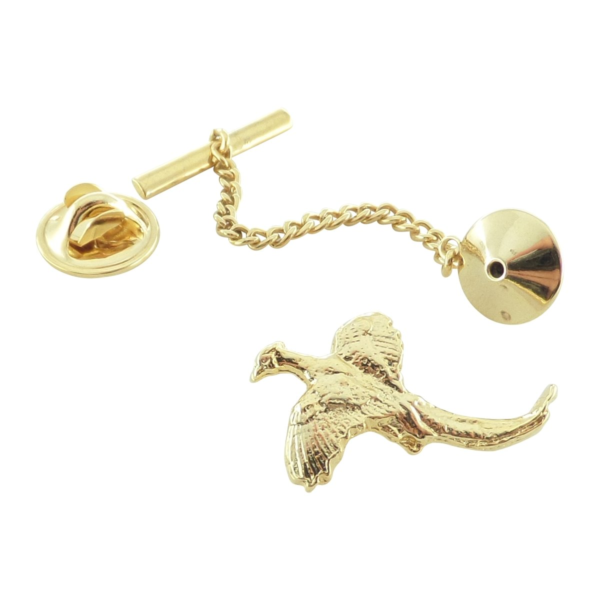 Creative Pewter Designs, Pewter Pheasant Tie Tack, Gold Plated, BG022TT