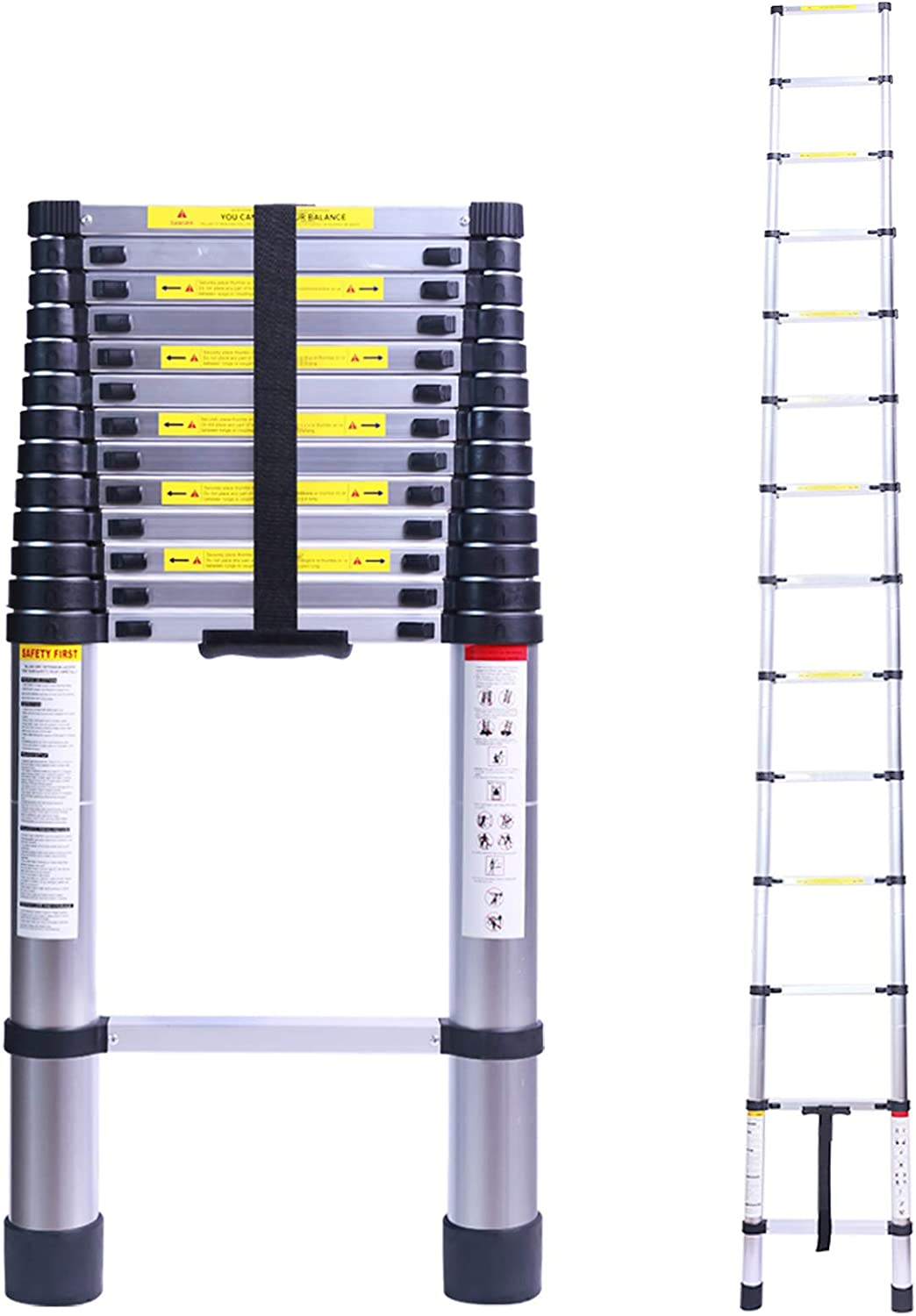 16.4FT Tall Telescoping Ladder, Extension Collapsible Ladders, Aluminum Lightweight Telescopic Ladder for RV, Loft, Home & Attic, 330LB Capacity: Kitchen & Dining
