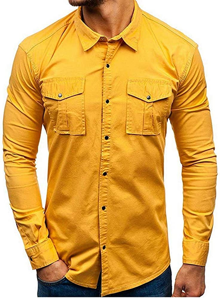 Hertsen - Camisa de Vestir Informal para Hombre, Manga Larga ...