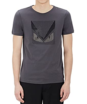 Fendi Men Grey T Shirt with Studded Bag Bugs - Grey -  Amazon.co.uk ... 3b9fbdd54a76b