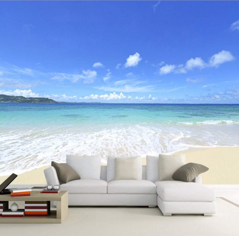 *280 Yssyss Soggiorno Camera Da Letto Divano Tv Sfondo Decorato Spiaggia Vista Mare-400 Cm H W