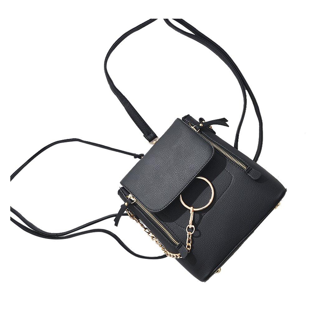 HENGSHENG Fashion Women Crossbody Backpack Purse Small Pu Leather Shoulder Bag Ladies Cute Chain Satchel Bag