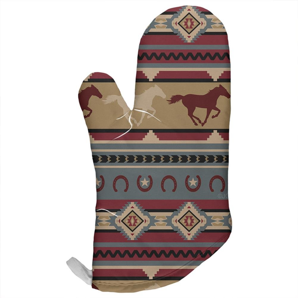 Southwestern Wild Horse Mustang Pattern All Over Oven Mitt Multi Standard One Size