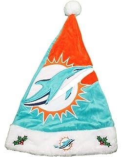 3254eb776 Forever Collectibles Miami Dolphins 2018 NFL Basic Logo Plush Christmas  Santa Hat