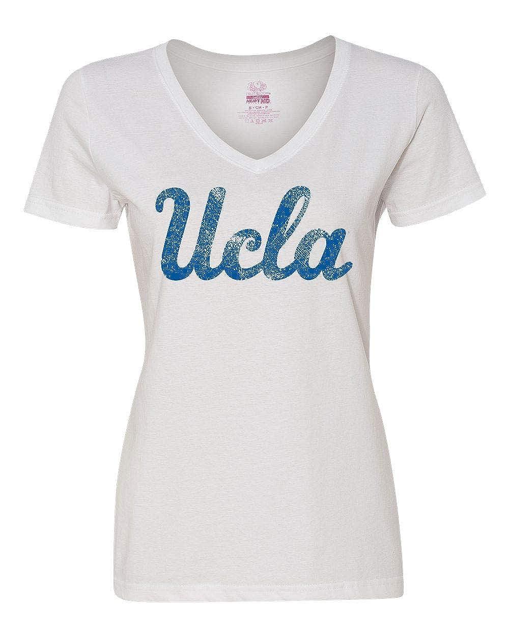 Amazon com: UCLA Script Distressed V-Neck T-Shirt White: Clothing