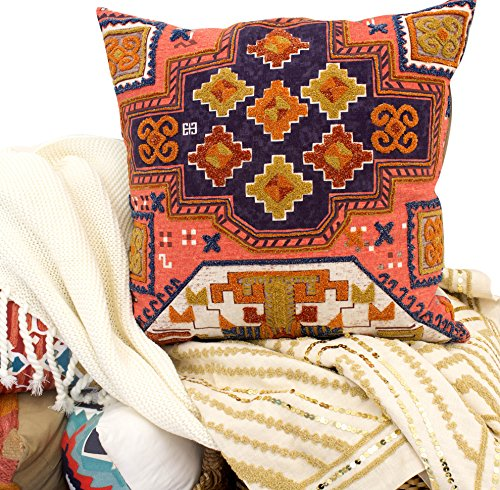 Boho Living Apex Southwest Crewel Embroidery 20x20 in. Decorative Pillow Red (Pillows Crewel)