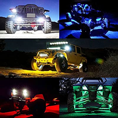 2 Pods LED Rock Lights, Ampper Waterproof LED Neon Underglow Light for Car Truck ATV UTV SUV Jeep Offroad Boat Underbody Glow Trail Rig Lamp (Blue): Automotive