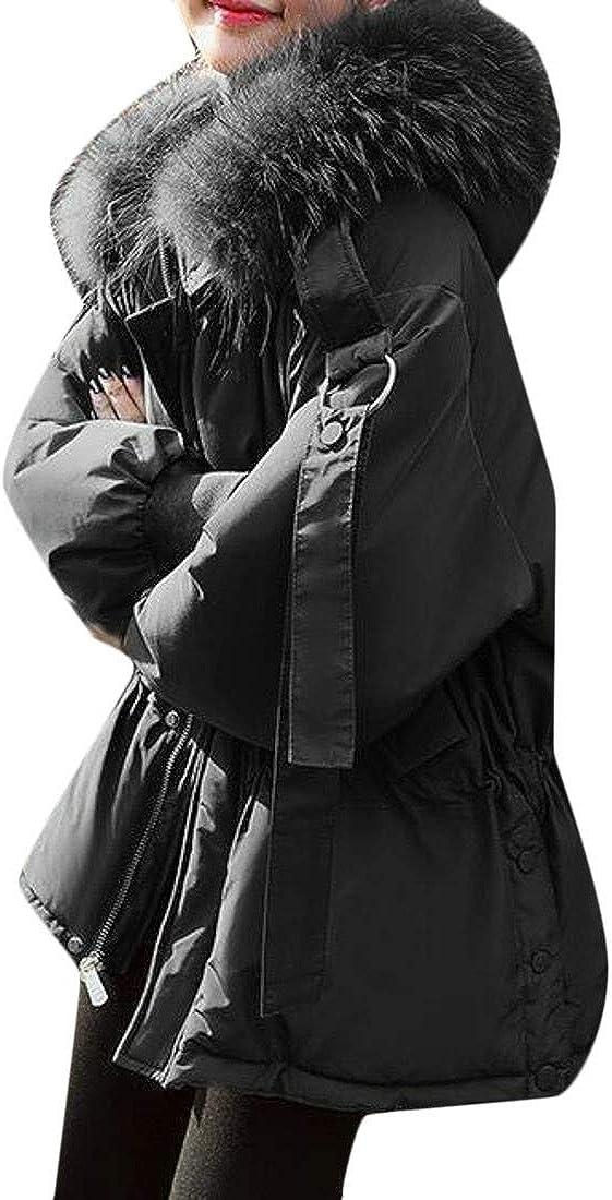 goldenharvest GH Womens Loose Fleece Faux Fur Hood Puffer Drawstring Down Jacket Coat
