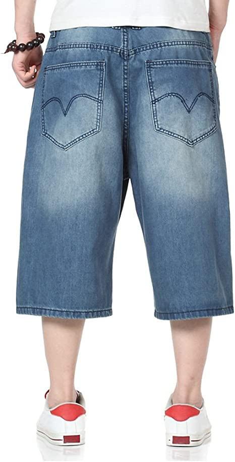 Jotebriyo Mens Stretchy Regular Fit Relaxed Fit Summer Plus Size Denim Shorts Jeans
