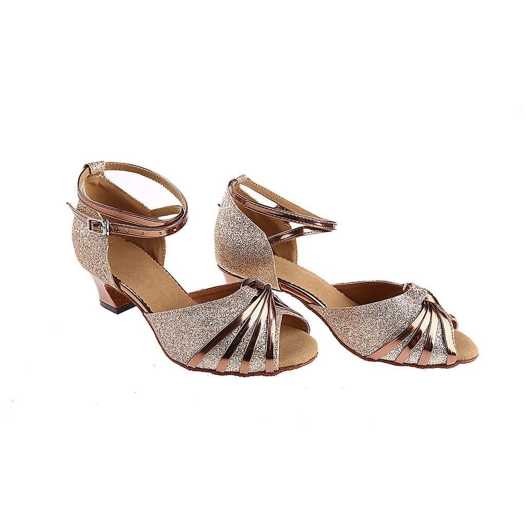 88e23f44b3b Misu Women s Peep toe Sandals Latin Salsa Tango Practice Ballroom Dance  Shoes with 2.0