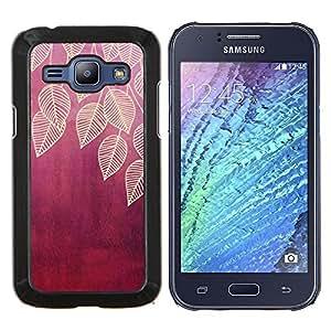 EJOOY---Cubierta de la caja de protección para la piel dura ** Samsung Galaxy J1 J100 ** --deja la hoja de ciruela marrón naturaleza roja