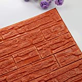 Pet1997 Self-adhesive 3D Brick Wall Sticker, DIY 3D Brick PE Foam Wallpaper Panels, Room Decal Stone Decoration For Home Living, Bedroom, Kitchen - 23.62Inch x 11.81Inch (Q)