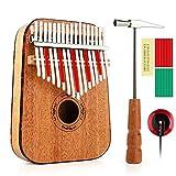 Vangoa 17 keys Kalimba Thumb Piano kit, Rounded Edges Electric Kalimba, Portable Mahogany Wood with Tuning Hammer, Cloth Bag, pickup and key stickers