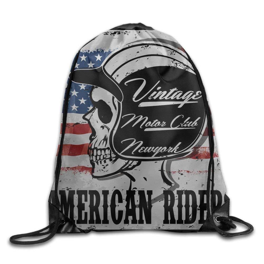 HLKPE American-Riders Large Drawstring Sport Backpack Sack Bag Sackpack