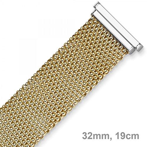 32mm framboise Bracelet en or jaune 585or blanc &, plat, 19cm
