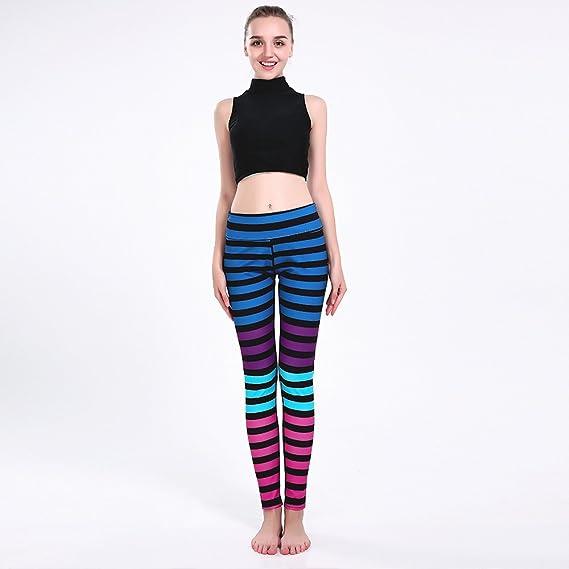 YoYoiei Womens Striped Ankle Length Yoga Pants Tummy Control Workout Leggings