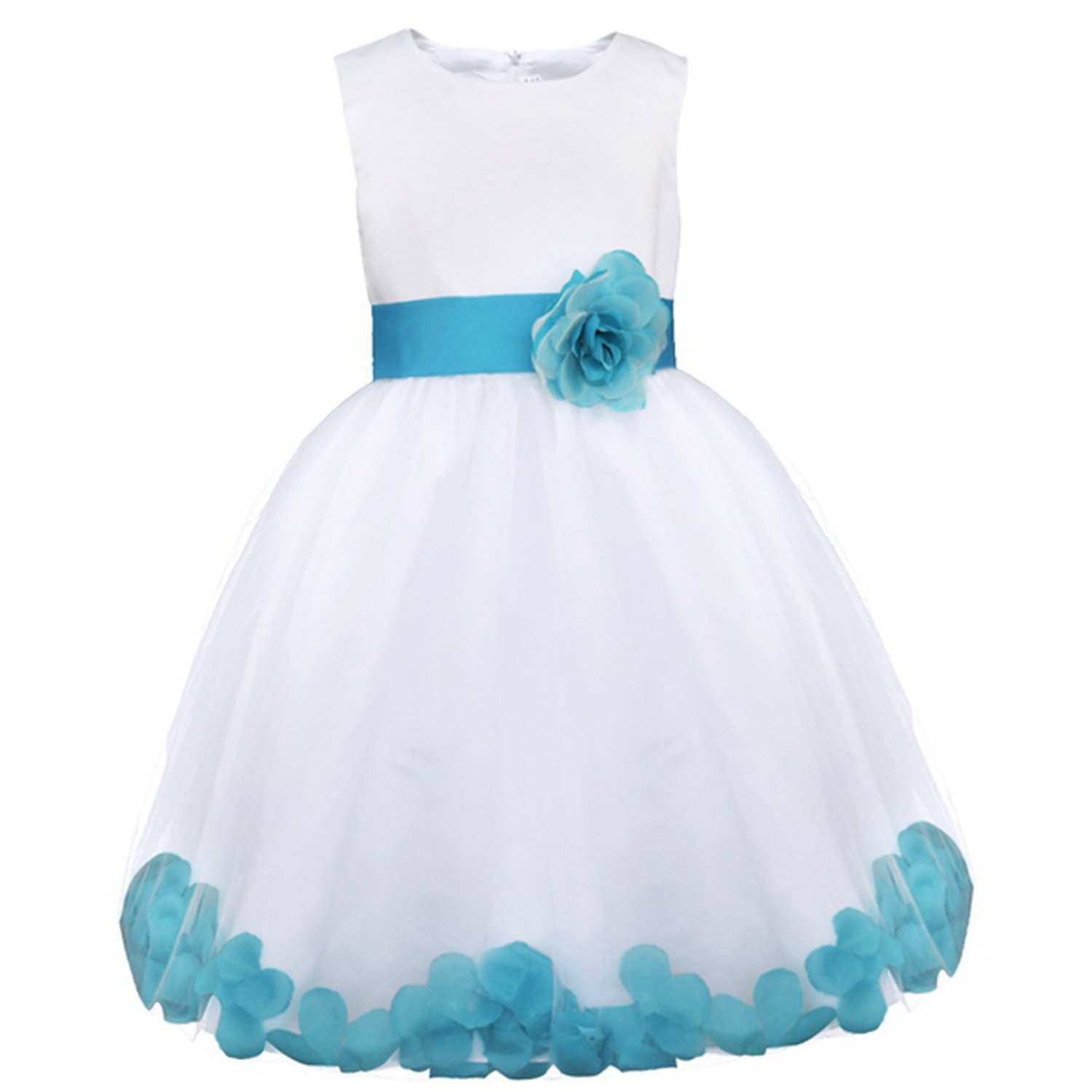 Toping Fine girl dress Flower Petals Girls Bridesmaid Elegant Princess Girls Pageant Prom Gown Dress,Sky Blue,Child-5