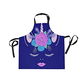 WIHVE Aprons Unicorn Head Floral Wreath Peacock Feathers Adjustable Bib  with Two Pockets and Long Tie 82cdf037f8