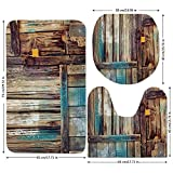 3 Piece Bathroom Mat Set,Rustic,Aged Shed Door Backdrop with Color Details Country Living Exterior Pastoral Mansion Image,Brown,Bath Mat,Bathroom Carpet Rug,Non-Slip