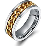 Ben Men's Gold Stainless Steel Wide 8mm Spinner Chain Shaped Ring