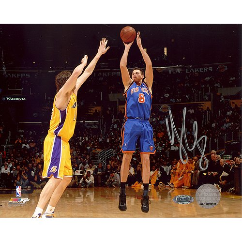 Steiner Sports NBA Danilo Gallinari Knicks Blue Jersey Jump Shot Vs Lakers Autographed 8-by-10-Inch - Shot Photograph Jump