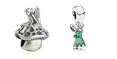 2 Pack Disney Tinkerbell Dress and Mushroom Set Sister Mum Friend gift will fit Pandora and Biagi charm bracelets bmp PpOGiersHZ