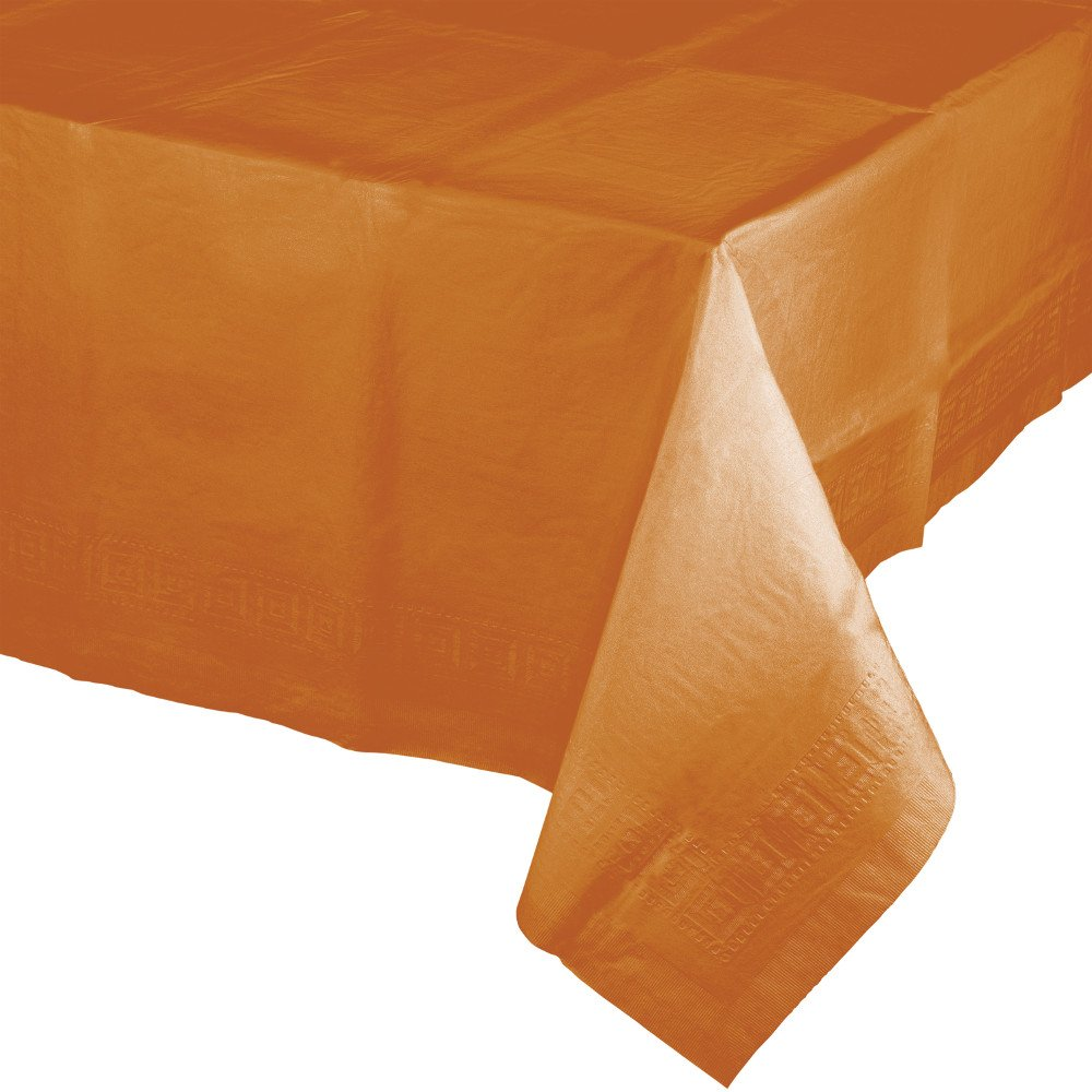 Creative Converting 6 Count Touch of Color Plastic Lined Table Covers, 54'' x 108'', Pumpkin Spice
