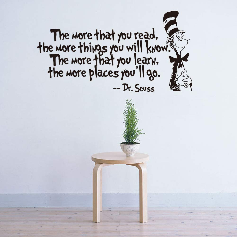 Removable Quotes and Saying Dr. Seuss the More You Read, the More Things You Will Know Transfers Murals Reading Wall Decal Love Baby Kids Children Bedroom School Art Wall Decals Stickers by Dofel (Image #6)