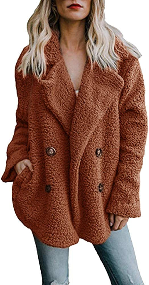 Sturrly????Women's Fashion Long Sleeve Lapel Zip Up Faux Shearling Shaggy Oversized Coat Jacket with Pockets Warm Winter