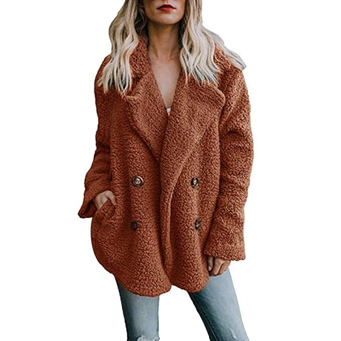Chaqueta De Invierno para Mujer Casual Abrigo de Lana Outwear Parka Cardigan Slim Coat Overcoat Invierno Abrigo de Algodón Collar de Vuelta riou: Amazon.es: ...