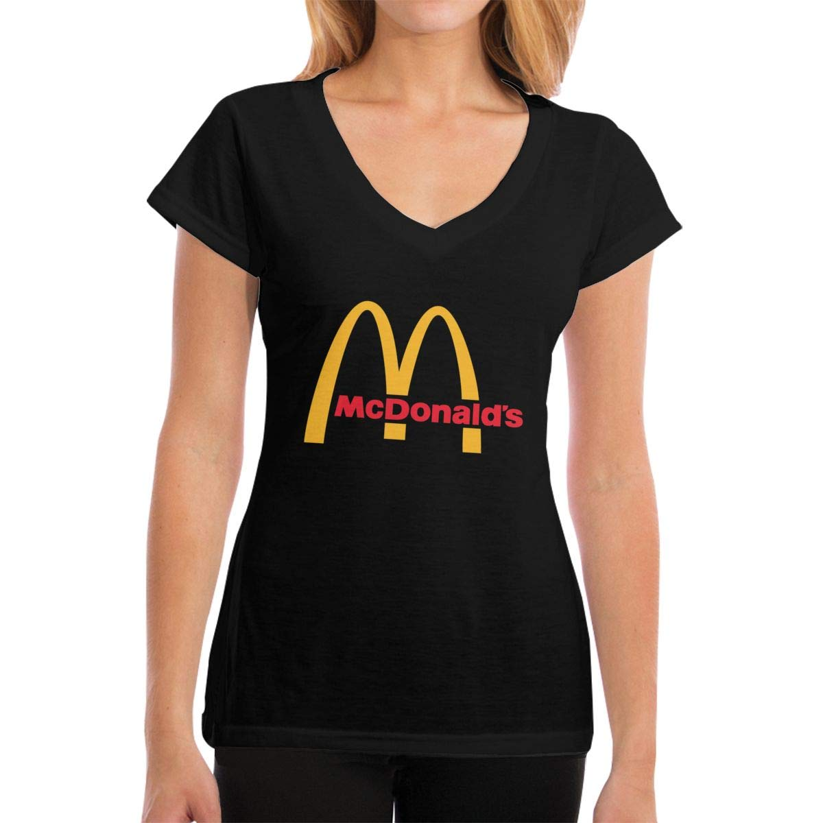 Lakssn Women's Youth Girls McDonalds Logo Tee Shirts Short Sleeve T Shirt for Women Girls T-Shirt Round Neck Cotton Tshirt Black S by Lakssn