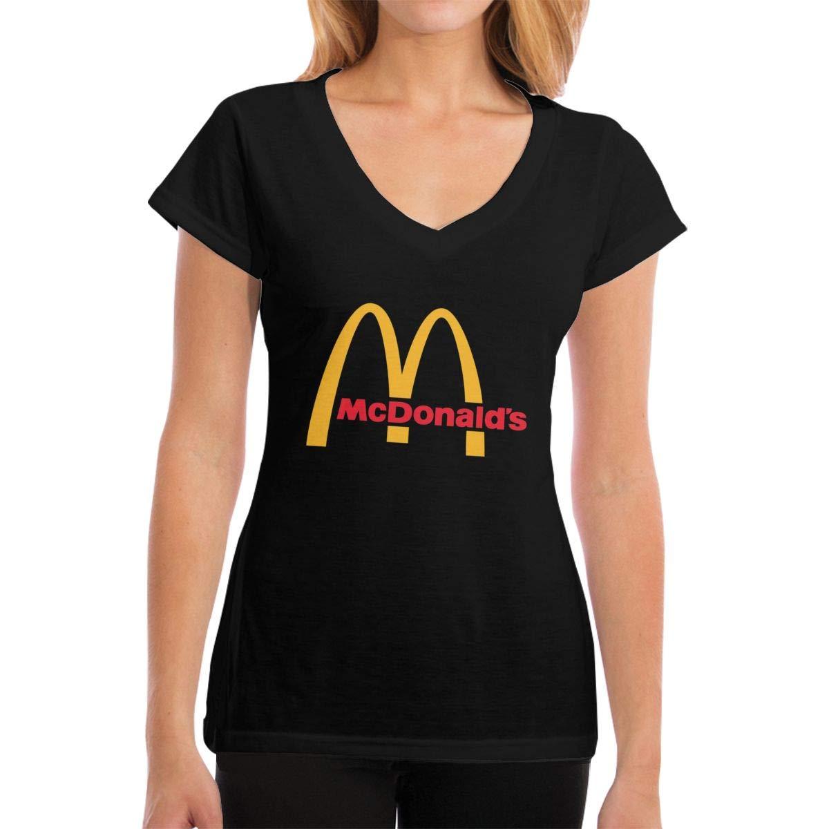 Lakssn Women's Youth Girls McDonalds Logo Tee Shirts Short Sleeve T Shirt for Women Girls T-Shirt Round Neck Cotton Tshirt Black XL by Lakssn
