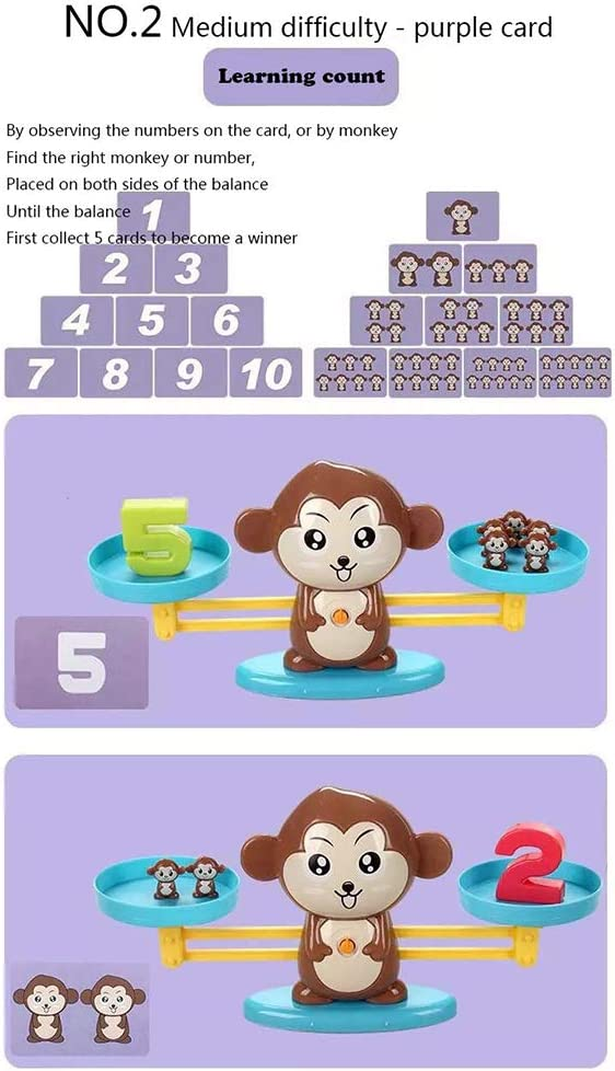 Peahop Monkey Balance Scale Digital Scale Toys Early Learning Balance Enlightenment Addition and Soustraction Fun Educational Toys