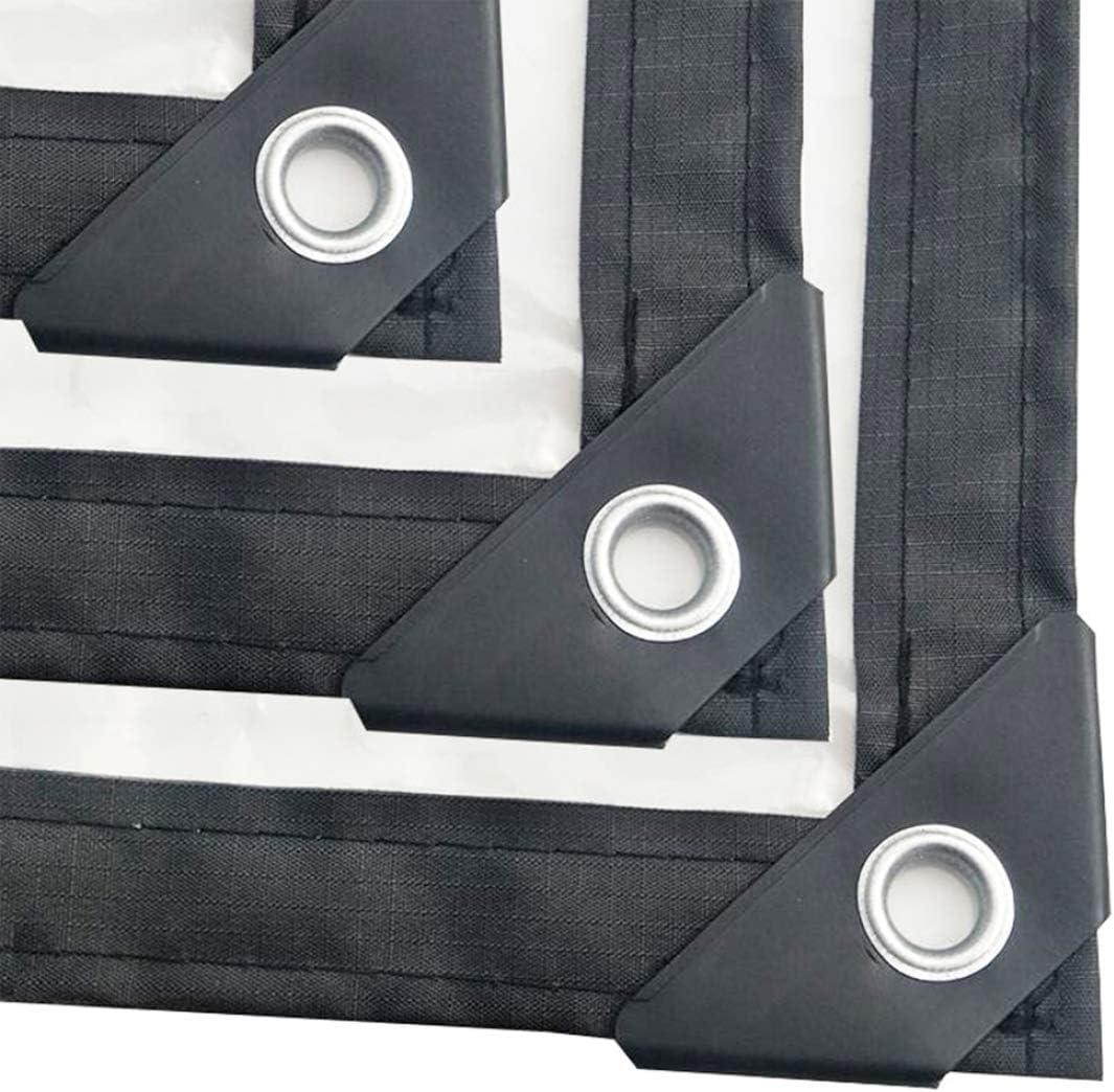 MFASD Lona Transparente con Ojales Bordes Reforzados, Lona de plástico Impermeable Rip-Stop, Lona para automóviles/Camping/embarcación,Transparent_9x7.5ft/3x2.5m