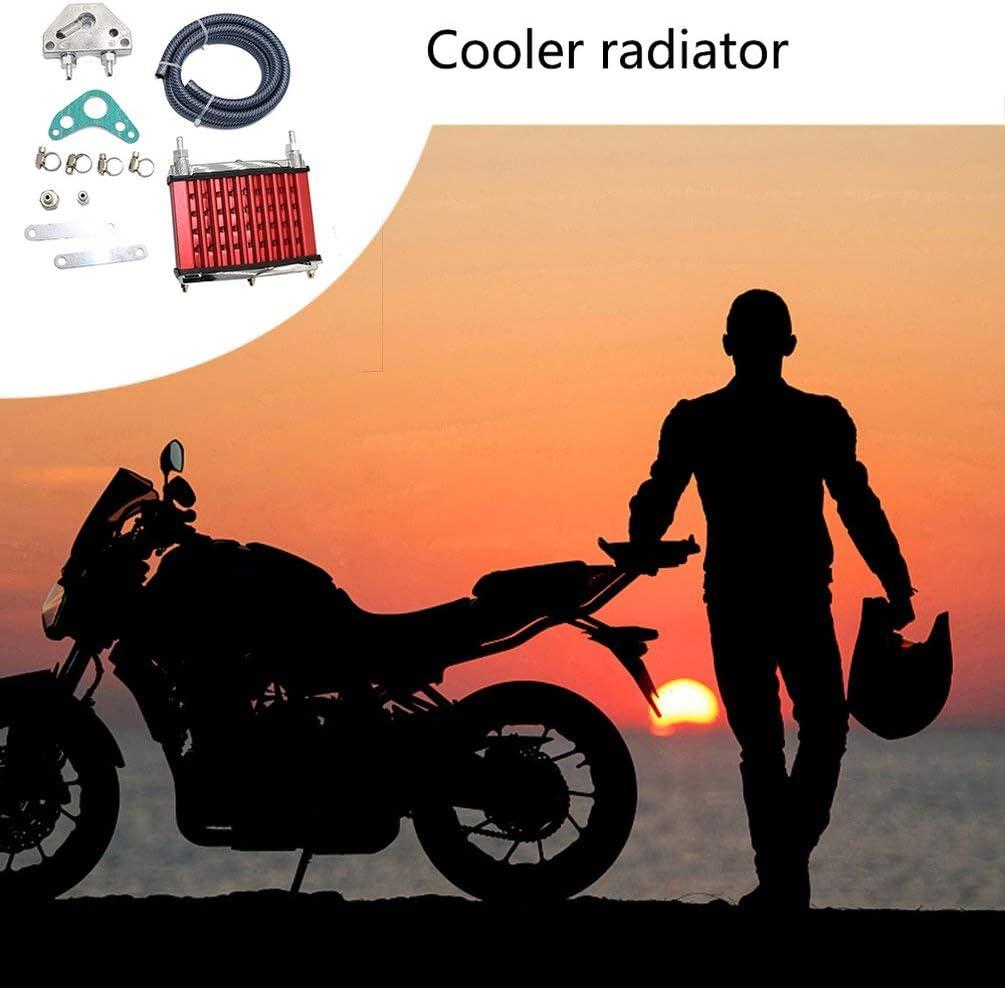 TAOHOU Refroidisseur dhuile de radiateur pour 50cc 70cc 90cc 110cc 125cc Dirt Pit Bike ATV Rouge
