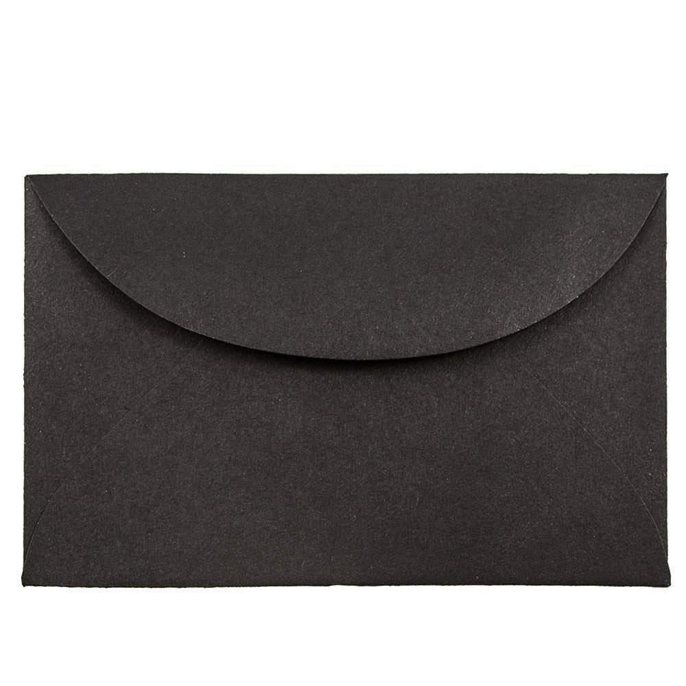 JAM PAPER 3Drug Mini Envelopes - 2 5/16 x 3 5/8 - Black Linen - 50/Pack