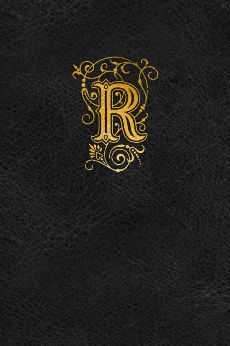 Old English Monogram Journal Letter R Elegant Golden Flourish Capital Letter On Black Leather Look Background Amazon Ca Spring Hill Stationery Books