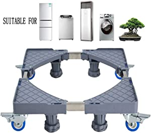 Multi-Functional Furniture Dolly Roller Base Movable Adjustable Base Telescopic Dolly for Refrigerator Dryer Washer Cabinet, with 8 Feet 4 Locking Rubber Swivel Wheels(8 feet+4 wheels)