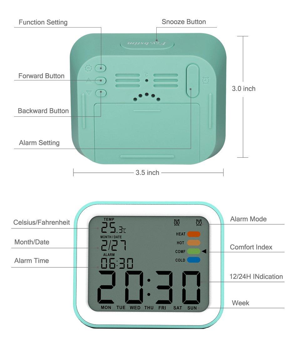 Amazon.com: Fzy.bstim Battery Digital Alarm Clock with 2 Alarms ...