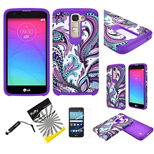 For LG K7 LG Tribute 5 LS675 LG Escape 3 ITUFFY (TM) 3items Combo: Screen Protector + Stylus Pen + Dual Layer Shockproof Resistance Hybrid Armor Case (Purple Paisley)
