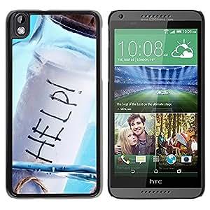 TopCaseStore / la caja del caucho duro de la cubierta de protección de la piel - Help Message In A Bottle - HTC DESIRE 816